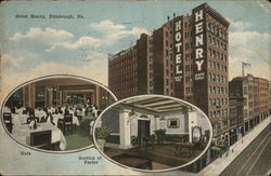 Exterior of Hotel Henry with Two Insets Showing Cafe and Section of Parlor