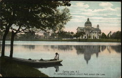 St. Catherine's Catholic Church from across Lake