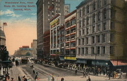 Woodward Avenue from State Street Looking South Postcard