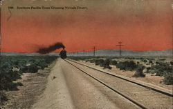 Southern Pacific Train Crossing Nevada Desert Postcard