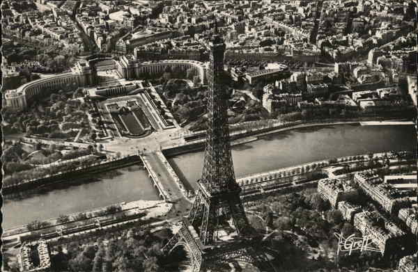 Aerial View of Eiffel Tower and Chaillot Palace Paris France