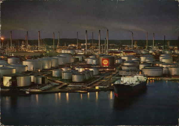 View of Shell Oil Refinery Curacao Caribbean Islands