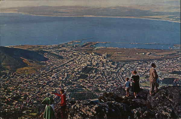 View over City from Table Mountain Cape Town South Africa
