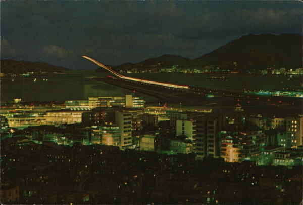 Kai Tek Airport at Night with its Modern Runaway Illuminated