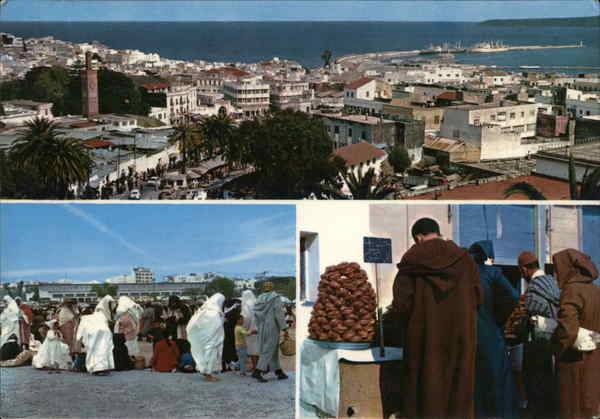 Panoramic view and market Tangier Morocco Africa
