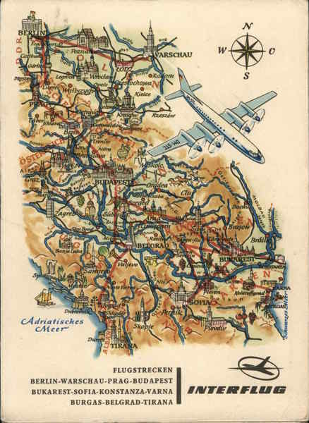 Pictorial Map of Berlin- Budapest Interflug Airlines
