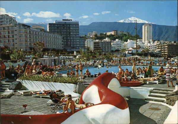View of Pool and City Puerto de la Cruz Canary Islands