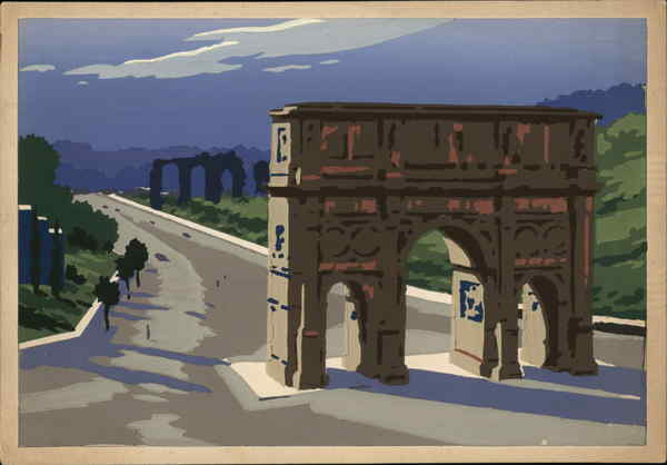 Illustration - Arch of Constantine - The Path of Triumphs Rome Italy