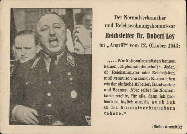 Reichsleiter Dr. Robert Ley Feldpost Germany Nazi Germany