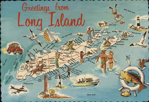 Greetings from Long Island New York Maps