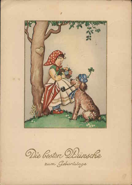 Illustration of Girl with Dog in Hat - Best Wishes for Your Birthday!