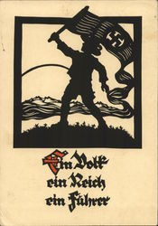 Silhouette of Nazi, Swastika, One People, One Empire, One Leader Postcard