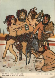 Comic Illustration of Dionysos - God of Wine with Nude Women, Donkey