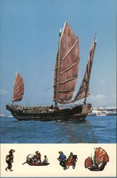 Chinese Junk Boat, Other Methods of Travel Depicted Postcard