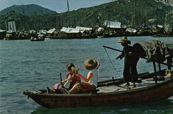 A Snap-Shot of Chinese Sam-Pan Boat Postcard