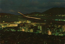Kai Tek Airport at Night with its Modern Runaway Illuminated Postcard