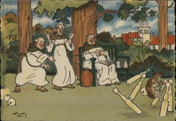 Monks Bowling on Lawn with Dog as Ball