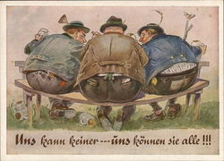 Three Drunk Fat Men on Swaying Bench - Uns kann keiner - uns konnen sie alle!