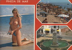 Topless Woman on Beach and City Sights