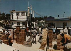 Mailboard M.V. Bimini Rose unloading cargo from Nassau on Government Dock, Alice Town, Bimini