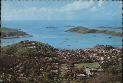 Harbor and Town seen from Top of Island Postcard