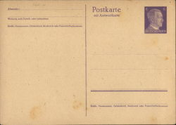 Blank Postal Card with Hitler Stamp