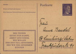 Nazi Postal Card Let Us Follow Hitler's Example