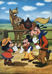 Mickey Mouse, Minnie Mouse and Goofy with Horse