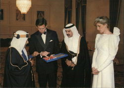 H.H. The Amir of Bahrain and Prince Charles with Sh. Hamed the Crown Prince and Princess Diana