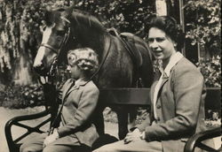 Her Majesty Queen Elizabeth and Princess Anne with the Welsh Pony Greensleeves Postcard