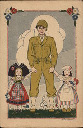 Soldier Holding Hands with Two Young Girls