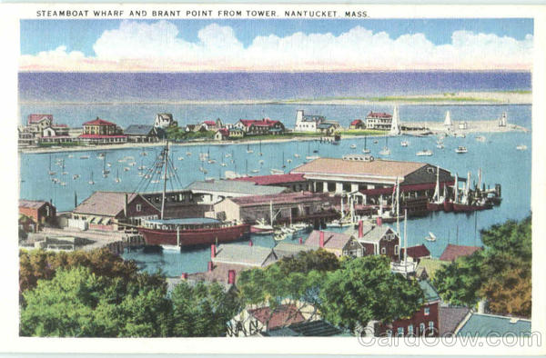 Steamboat Wharf And Brant Point From Tower Nantucket Massachusetts