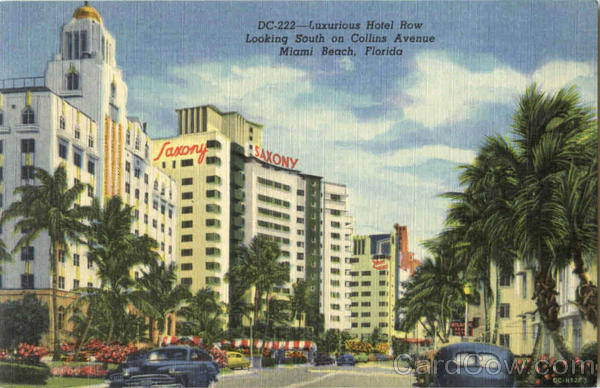 Luxurious Hotel Row Looking South On Collins Avenue Miami Beach Florida