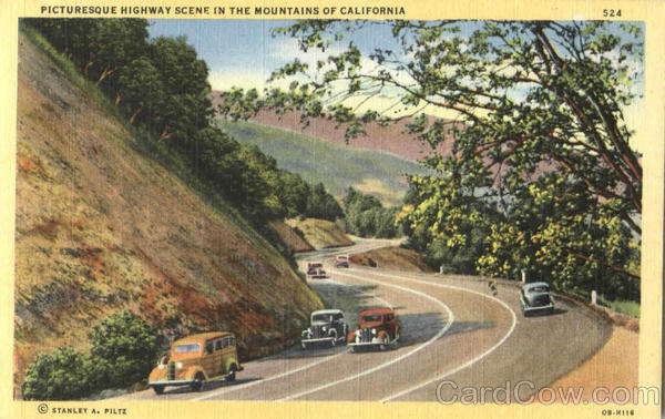 Picturesque Highway Scene In The Mountains Of California