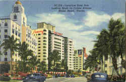 Luxurious Hotel Row Looking South On Collins Avenue Miami Beach