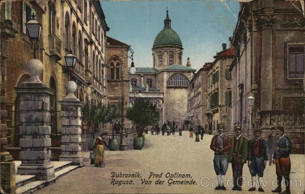Pred Opcinom. Ragusa, Von der Gemeinde. Dubrovnik Croatia