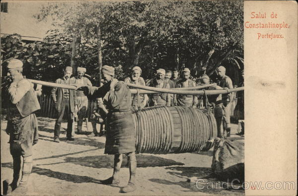 Porters Carrying a Large Barrel on Two Long Yolks Constantinople Turkey