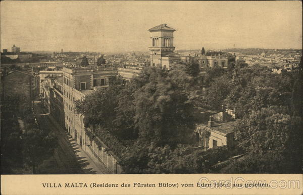 View of Villa Malta (residence of Prince Buelow) from the Eden Hotel Rome Italy