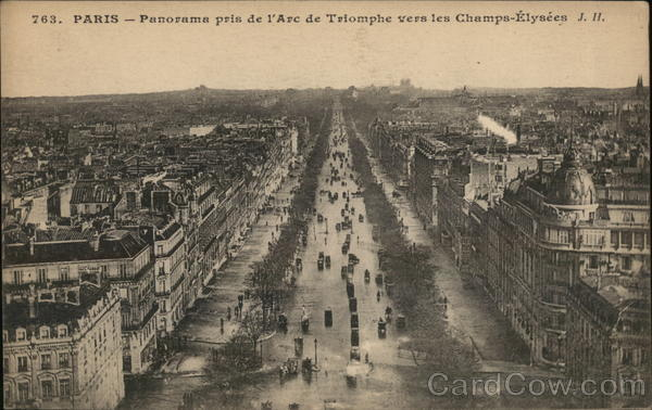 View from l'Arc de Triomphe to Champs Elysees