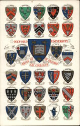 Arms of the colleges of Oxford - Oxford University Postcard