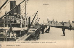 View on the South Wharf with a steamer from North Deutscher-Lloyd