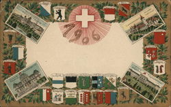 Coats of arms and views of the Swiss Cantons