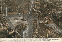 Bird's eye view of Trafalgar Square and Environs. Postcard