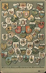 Arms of the States and Territories of the American Union Postcard