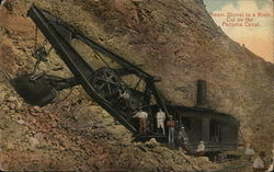Steam Shovel in Rock Cut on Panama Canal