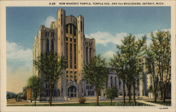 New Masonic Temple, Temple Ave. and 2nd Boulevard Detroit Michigan
