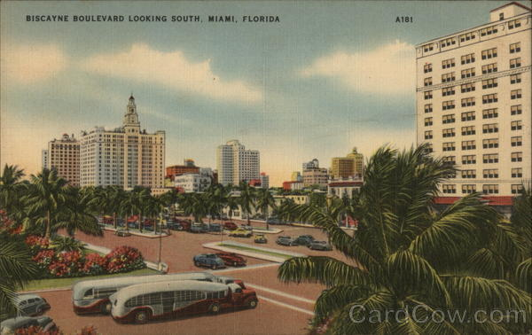 Biscayne Boulevard Looking South Miami Florida