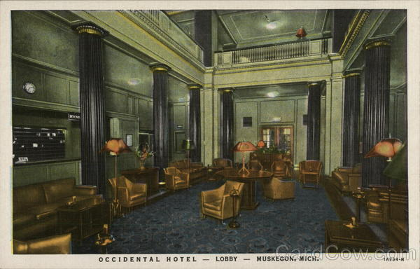 Occidental Hotel-Lobby Muskegon Michigan