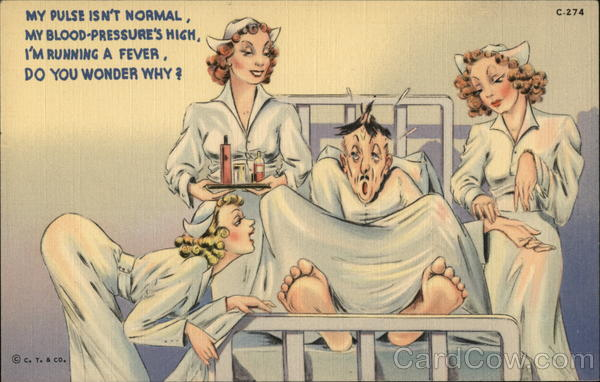 Man in Hospital Bed Surrounded by Hot Nurses Comic, Funny
