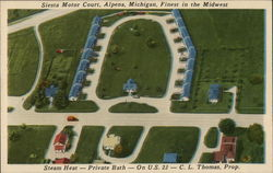 Siesta Motor Court, Alpena, Michigan, Finest in the Midwest Steam Heat-Private Bath-On U.S.23- Postcard
